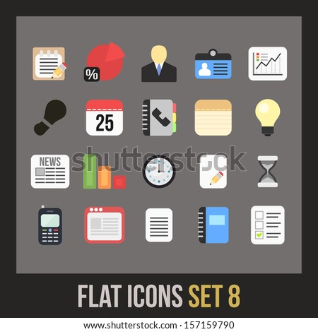 Flat icons set 8 - businnes collection - stock vector