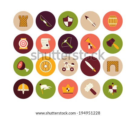 Flat icons set 30 - castle and wepon - stock vector