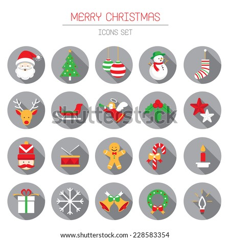 Flat Icons Set : Christmas Objects - stock vector