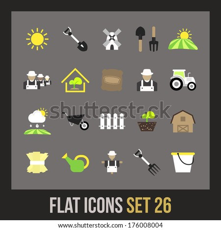 Flat icons set 26 - farm and farming - stock vector