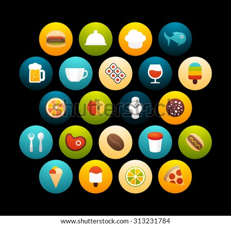 Flat icons set 6 - food and drink collection, for phone watch or tablet, isolated on black background
