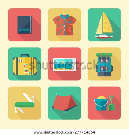 Flat Icons Set for Vacation and Tourism - stock vector