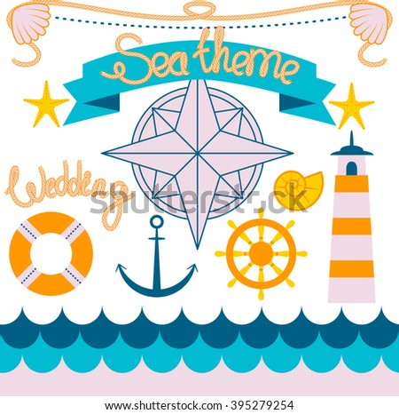 Flat icons set in sea theme for making cards and invitations. Rope is a pattern brush  - stock vector