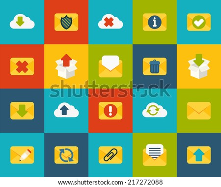 Flat icons set 7 - mail and cloud collection