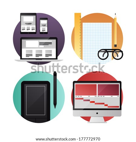 Flat icons set modern vector illustration concept of digital tablet, mobile phone and computer with web, graphic and video design process development. Isolated on white background