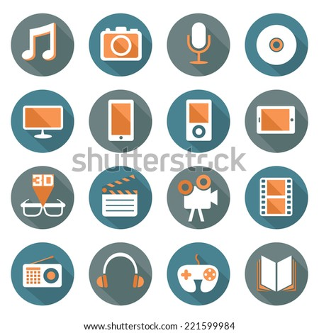 Flat icons set : Multimedia & Entertainment Objects - stock vector