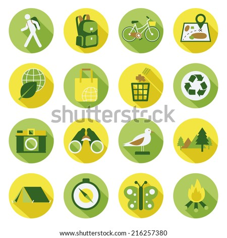 Flat icons set : Nature & Eco, Trips & Travel - stock vector