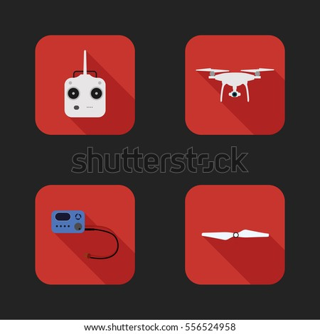Flat icons set of  aerial quadrocopter - drone, transmitter, charger, propeller