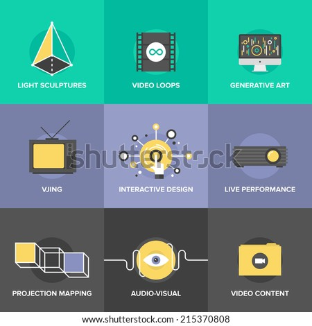 Flat icons set of audio and creative design process, video projection mapping, vjing and generative art, interactive and live performance concept. Modern design style vector illustration concept. - stock vector