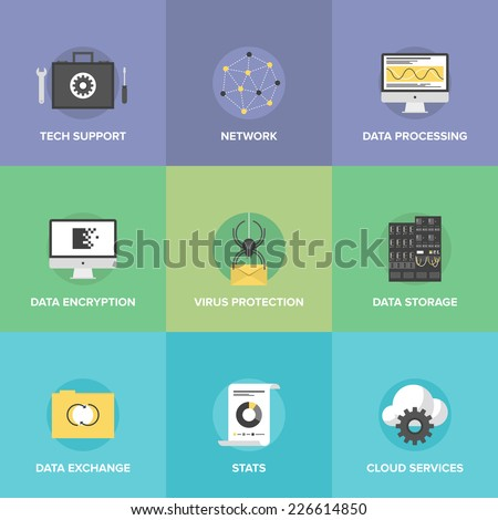Flat icons set of big data storage protection, cloud computing communication services, technical support, network connection and information exchange. Flat design modern vector illustration concept. - stock vector