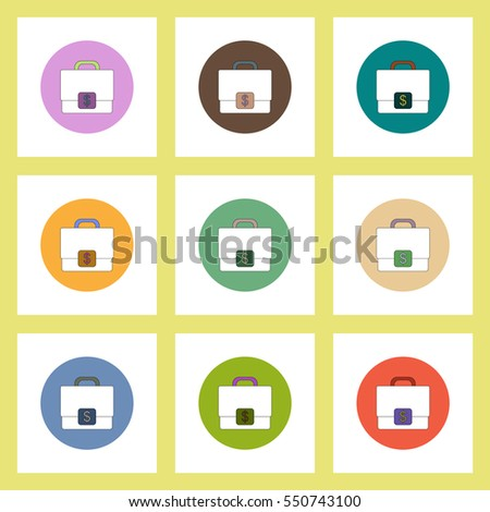 flat icons set of Case with dollar emblem concept on colorful circles