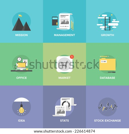 Flat icons set of creative office workplace, app store market sales, business management, success mission and growth ladder, stock exchange statistics. Flat design modern vector illustration concept. - stock vector