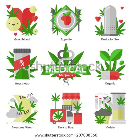 Flat icons set of daily medical marijuana uses, research cannabinol effect in medicine, cannabis variety using forms. Modern design style illustration symbol collection. Isolated on white background. - stock vector