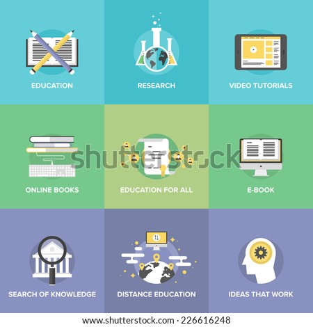 Flat icons set of free distance education, online learning process, internet video tutorials, electronic books, internet university search. Flat design style modern vector illustration concept. - stock vector