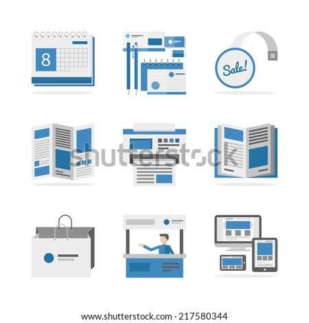 Flat icons set of marketing campaign development, creative product promotion, print advertising materials. Flat design style modern vector illustration concept. Isolated on white background. - stock vector