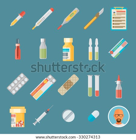 Flat icons set of medical tools and health care equipment