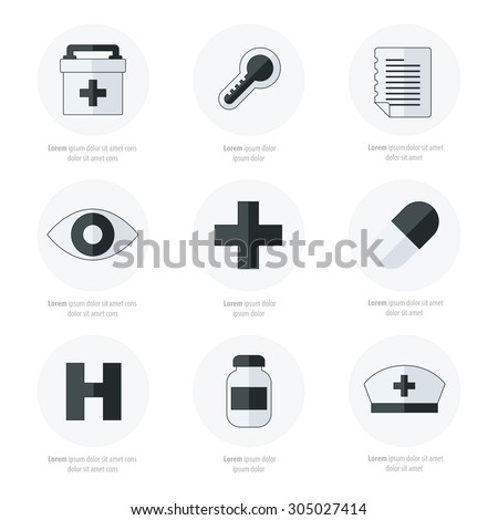 Flat icons set of medical tools Black and white color - stock vector