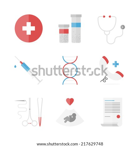 Flat icons set of medicine service, surgery instruments, medication pills and drugs, emergency hotline, clinical analysis. Flat design style modern vector concept. Isolated on white background. - stock vector
