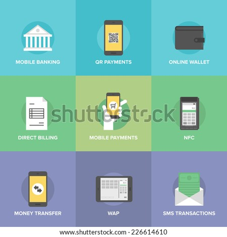 Flat icons set of  mobile payments and internet purchasing, direct money transfer, online banking on smartphone, near field communication service. Flat design style modern vector illustration concept. - stock vector