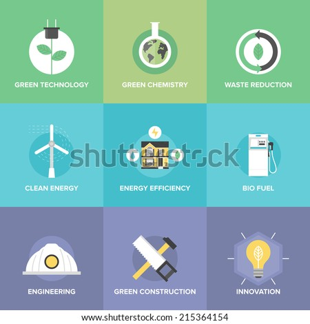 Flat icons set of natural renewable and clean energy, green technology innovation and chemistry, bio fuel and waste reduction efficiency. Modern design style vector illustration concept. - stock vector