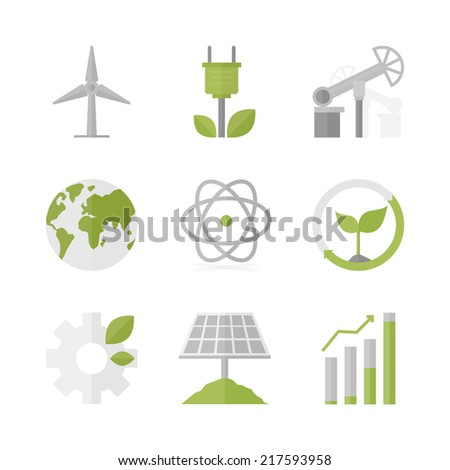 Flat icons set of natural renewable energy, green power production, solar panel and wind turbine energy source. Flat design style modern vector illustration concept. Isolated on white background. - stock vector