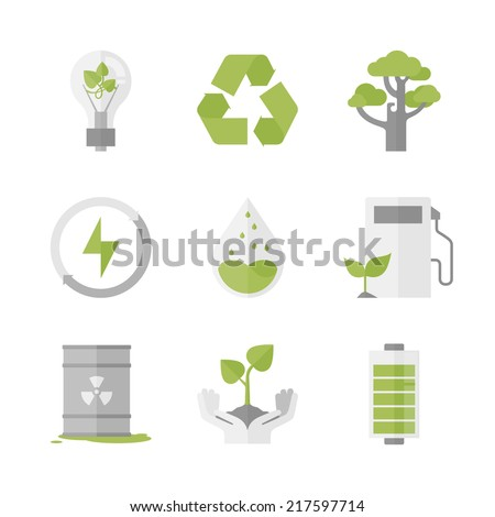 Flat icons set of nature renewable energy, ecology protection and recycling, green innovation and technology, waste reduction. Flat design style modern vector illustration concept. - stock vector
