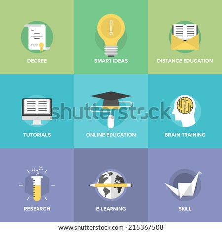 Flat icons set of online learning, brain training game, internet tutorials, smart ideas and thinking, electronic education process, studying new skills. Modern design style vector illustration concept - stock vector