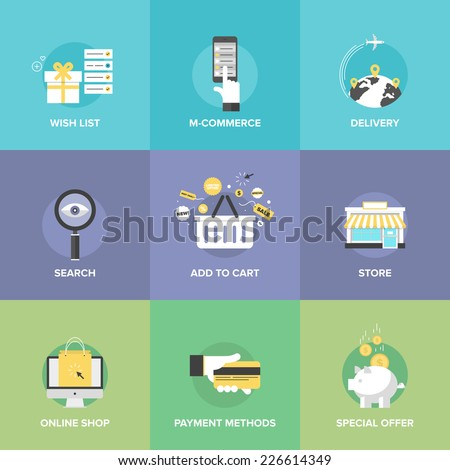 Flat icons set online shopping services stock vector 2018 flat icons set of online shopping services e commerce checkout payments add to altavistaventures Images