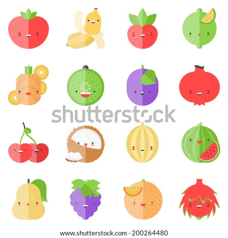 Flat icons set of popular tasty fruits in cute modern kawaii style. Flat design stylish vector illustration symbol collection. Isolated on white background.   - stock vector