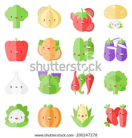 Flat icons set of popular tasty vegetables in cute modern kawaii style. Flat design stylish vector illustration symbol collection. Isolated on white background.   - stock vector