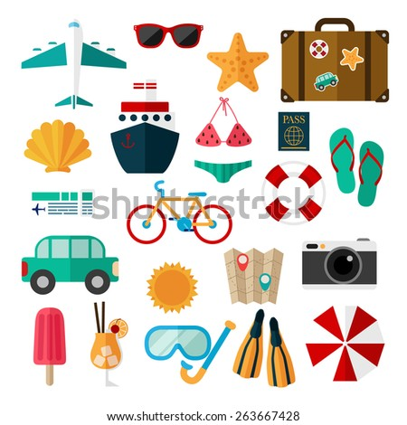Flat icons set of recreation and travel on a white background.