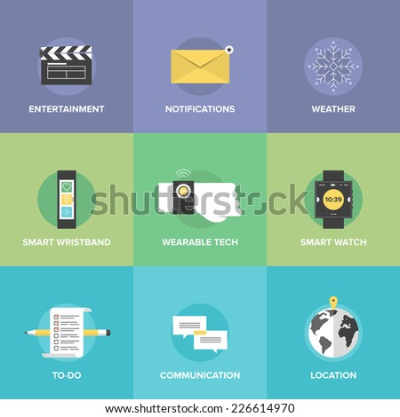 Flat icons set of smartwatch technology and smart wearable devices like bracelet and wristband, mobile apps for entertainment and communication. Flat design style modern vector illustration concept. - stock vector