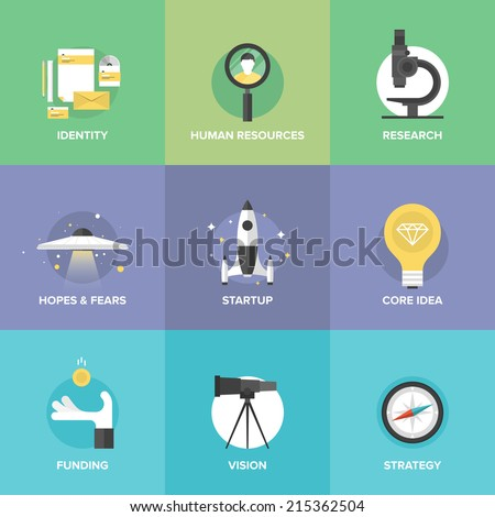 Flat icons set of startup key elements, small business planning development, strategy solution and market research, brand identity and company vision. Modern design style vector illustration concept. - stock vector