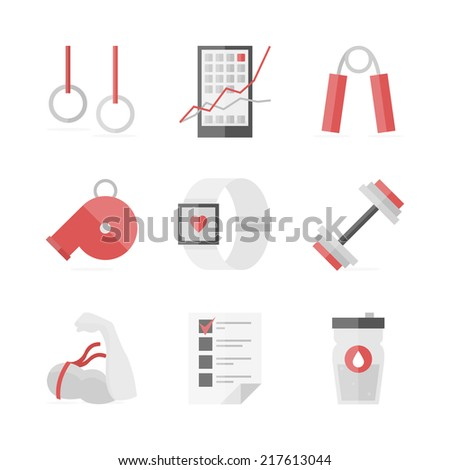 Flat icons set of strength training, physical activity, bodybuilding equipment, sport workout, fitness schedule. Flat design style modern vector illustration concept. Isolated on white background. - stock vector