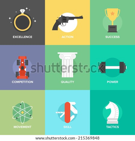 Flat icons set of success business development, skills improvement, product managing and service quality, strategy performance, creative thinking techniques. Modern design vector illustration concept. - stock vector