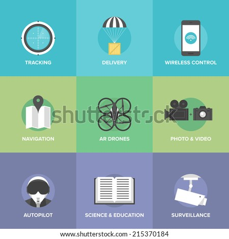 Flat icons set of unmanned aerial vehicle, taking aerial photography and video with wireless radio remote control, transporting a delivery package. Modern design style vector illustration concept - stock vector