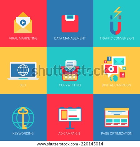 Flat icons set SEO viral marketing data management keywording copywriting digital advertisement campaign page optimization web click infographics style vector illustration concept collection - stock vector