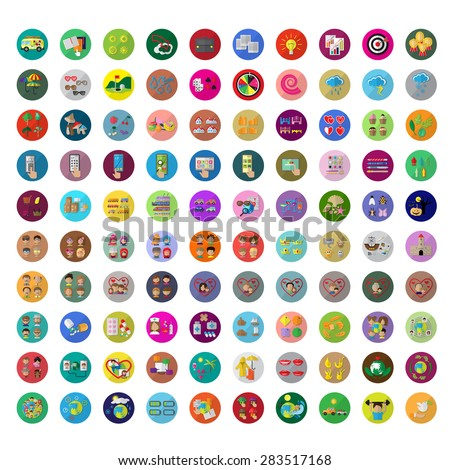 Flat Icons Set: Vector Illustration, Graphic Design. Collection Of Colorful Icons. For Web, Websites, Print, Presentation Templates, Mobile Applications And Promotional Materials - stock vector