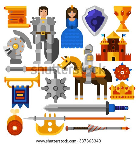 Flat icons set with knight princess castle medieval weapons and other elements isolated vector illustration - stock vector