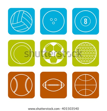 Flat icons sports balls on a Colored background. Sports objects