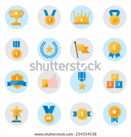 Flat Icons Trophy and Prize Icons Vector Illustration - stock vector