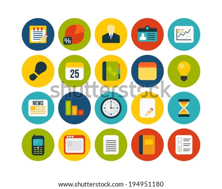 Flat icons vector set 8 - businnes collection - stock vector
