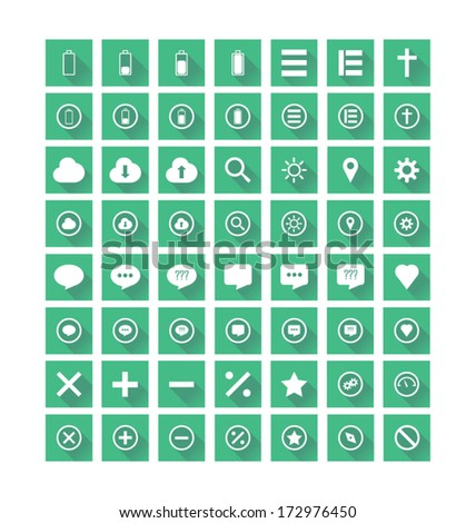 Flat Icons Vector set on green background with shadows