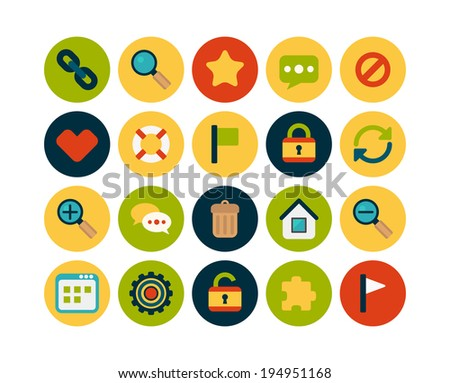 Flat icons vector set 1 - universal collection - stock vector