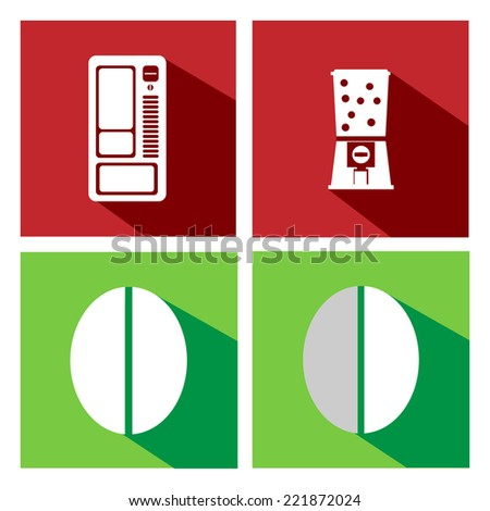 Flat icons vending machines and coffee bean. Coffee vending - stock vector