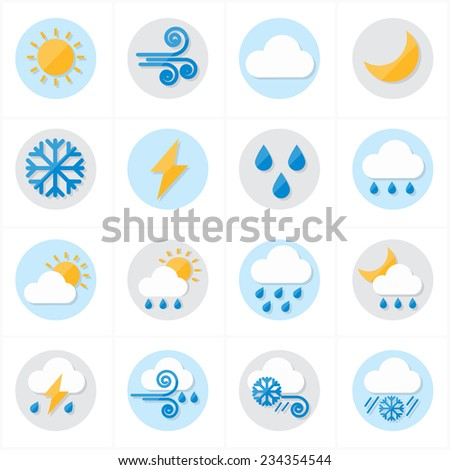 Flat Icons Weather Icons Vector Illustration - stock vector