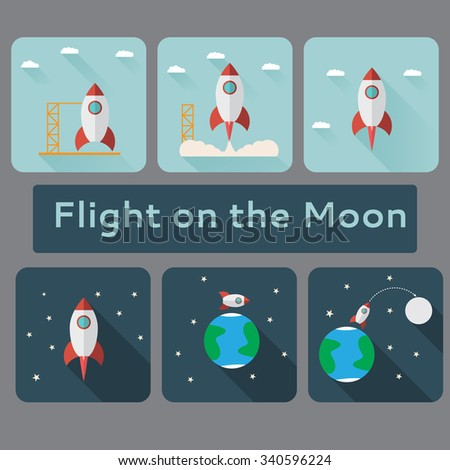 flat icons with an illustration about space spaceship earth travel icon space planet space earth background rockets launch cosmos moonlight flame spacecraft  space icon graphic vector futuristic fly - stock vector