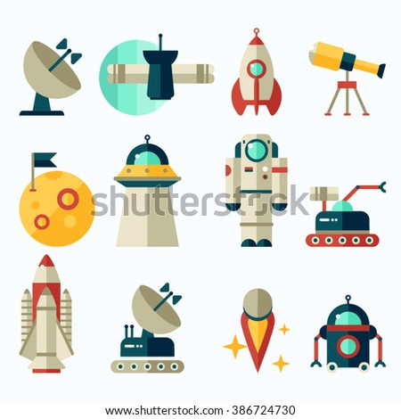 Flat icons with dark background about space equipment vector illustration. Colorful outer space stickers collection - stock vector