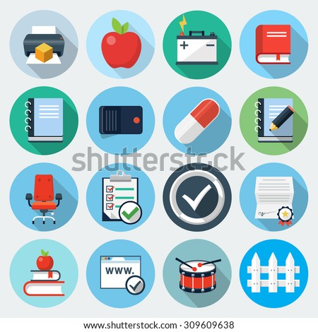Flat Icons with long shadow, set 12 - stock vector