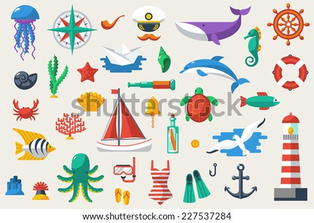 Flat icons with sea creatures and symbols. Vector illustration. Sea leisure sport. Nautical design elements: anchor, starfish, wheel, boat, fish, bell, lifebuoy, lighthouse, octopus, compass.